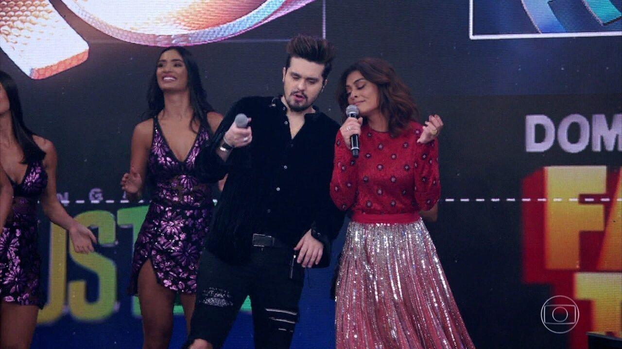 Juliana Paes e Luan Santana cantam música de Wando