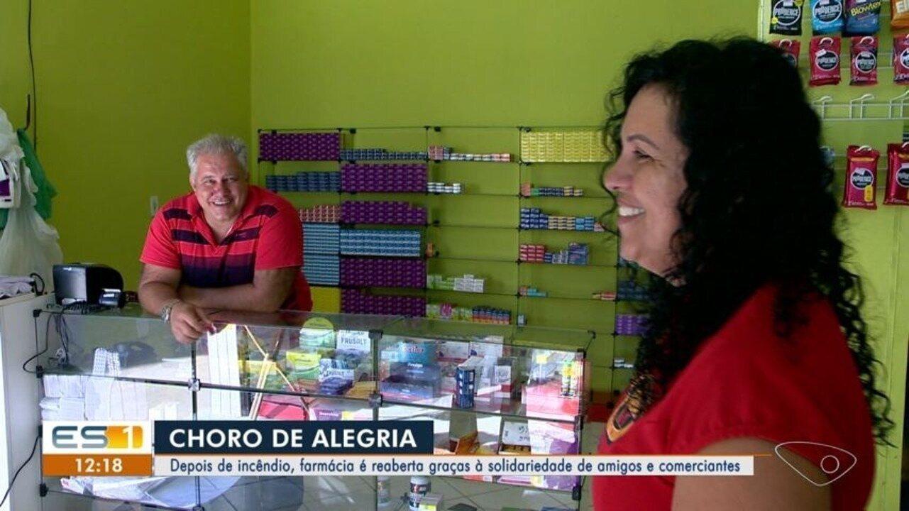 Depois de incêndio, farmácia é reaberta graças à solidariedade de amigos e comerciantes