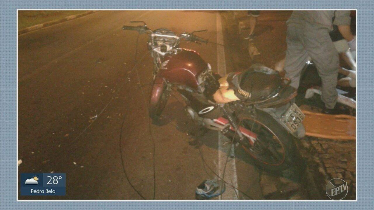 Motociclista sofre acidente após enroscar em fios soltos em Campinas