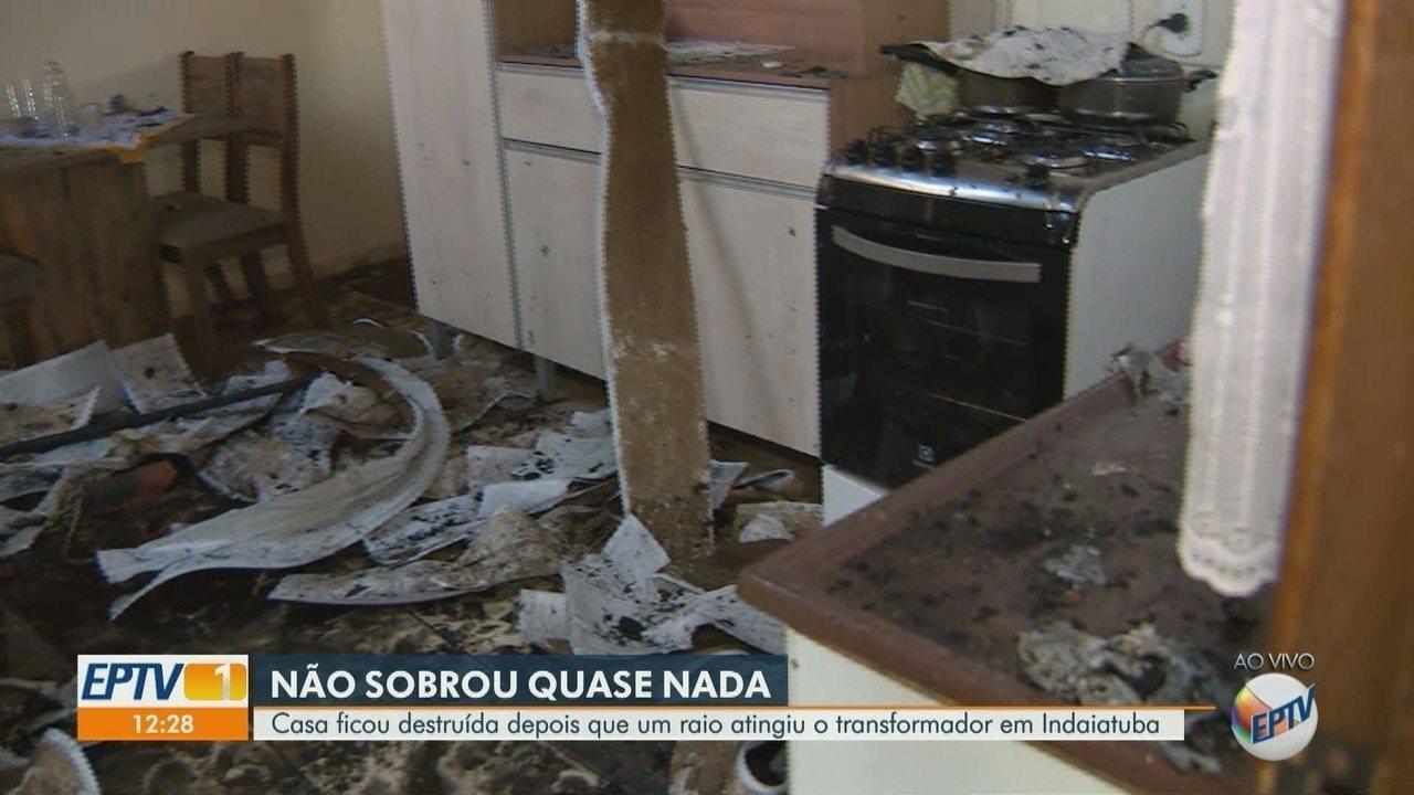 Residência é parcialmente destruída após ser atingida por raio em Indaiatuba