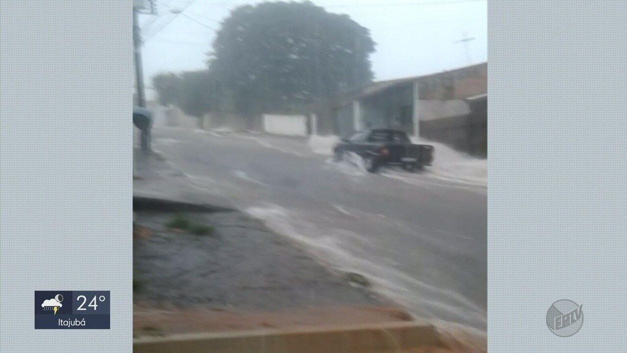 Chuva forte e granizo causam estragos em cidades do Sul de MG