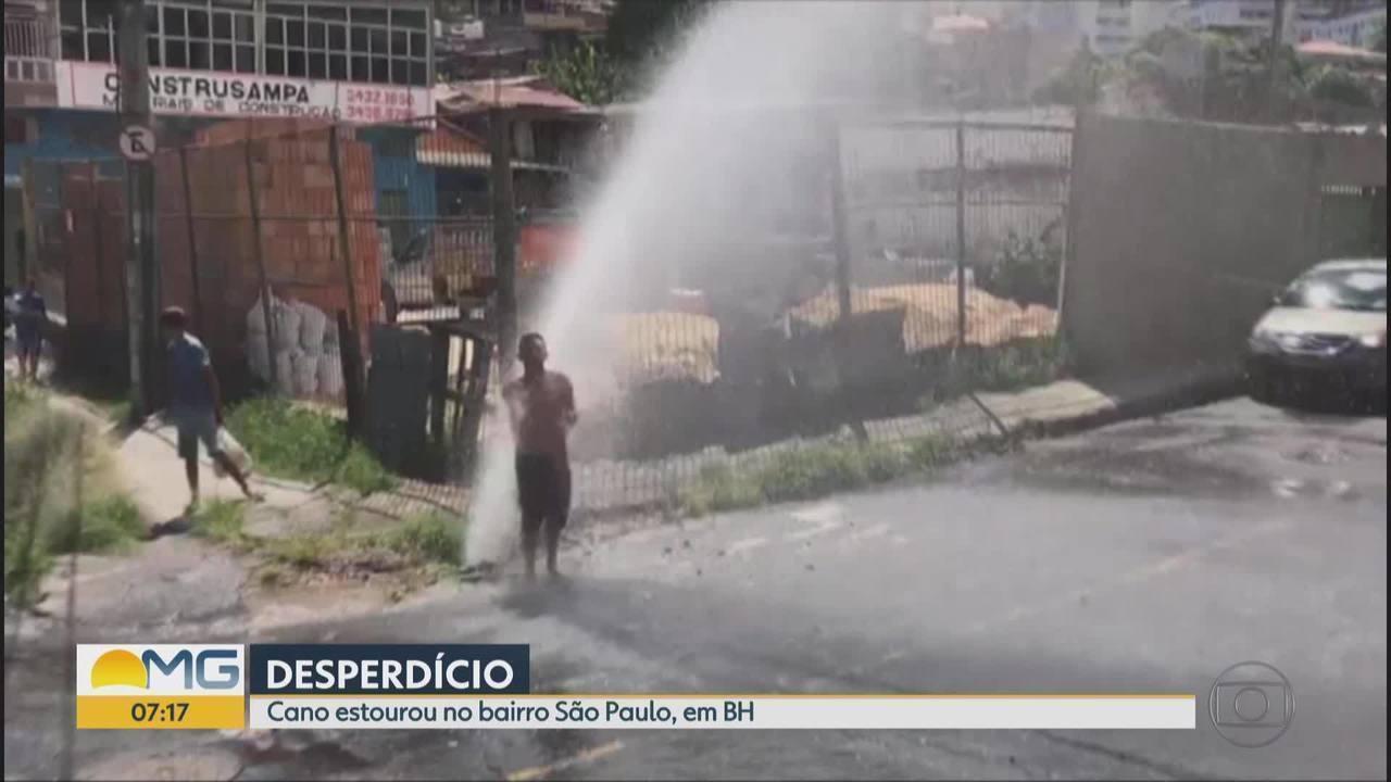 Telespectadores 'tomam banho' em cano estourado em Belo Horizonte