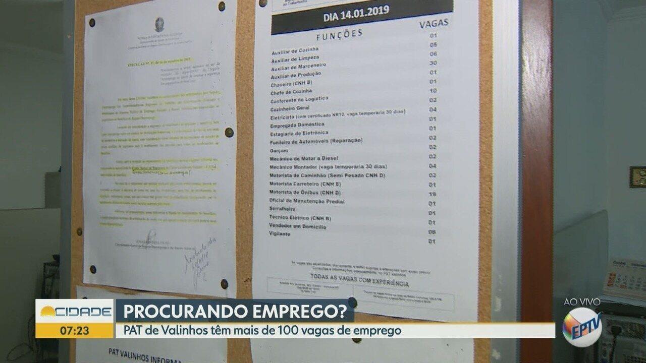 PAT de Valinhos disponibiliza mais de 100 vagas de emprego nesta segunda