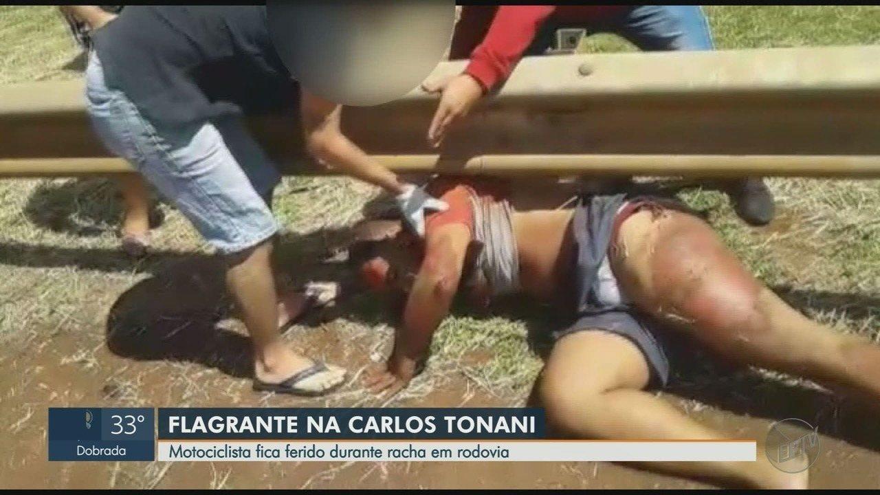 Motociclista é arremessado contra guard rail durante 'racha' em rodovia em Sertãozinho, SP