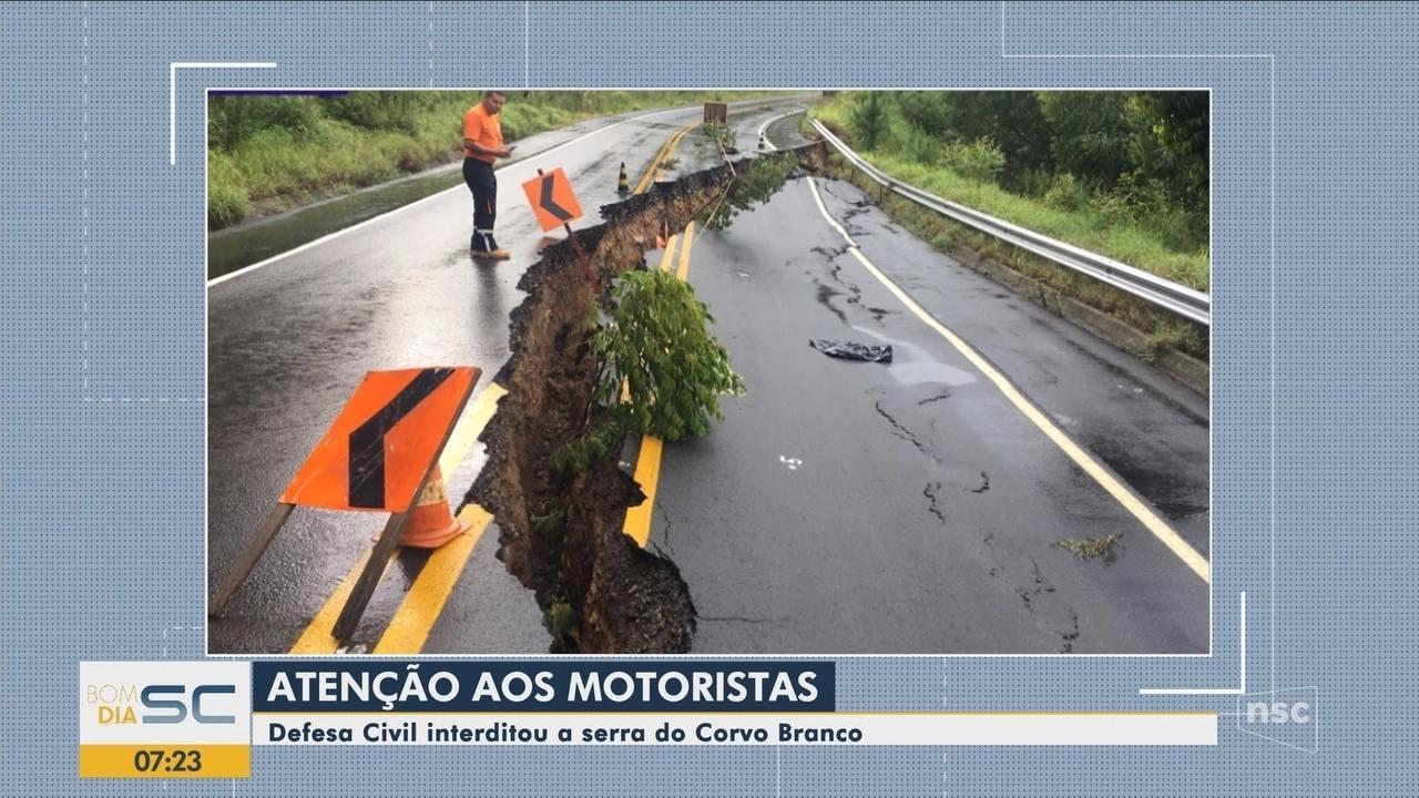 Defesa Civil interdita serra do Corvo Branco, na região de Urubici