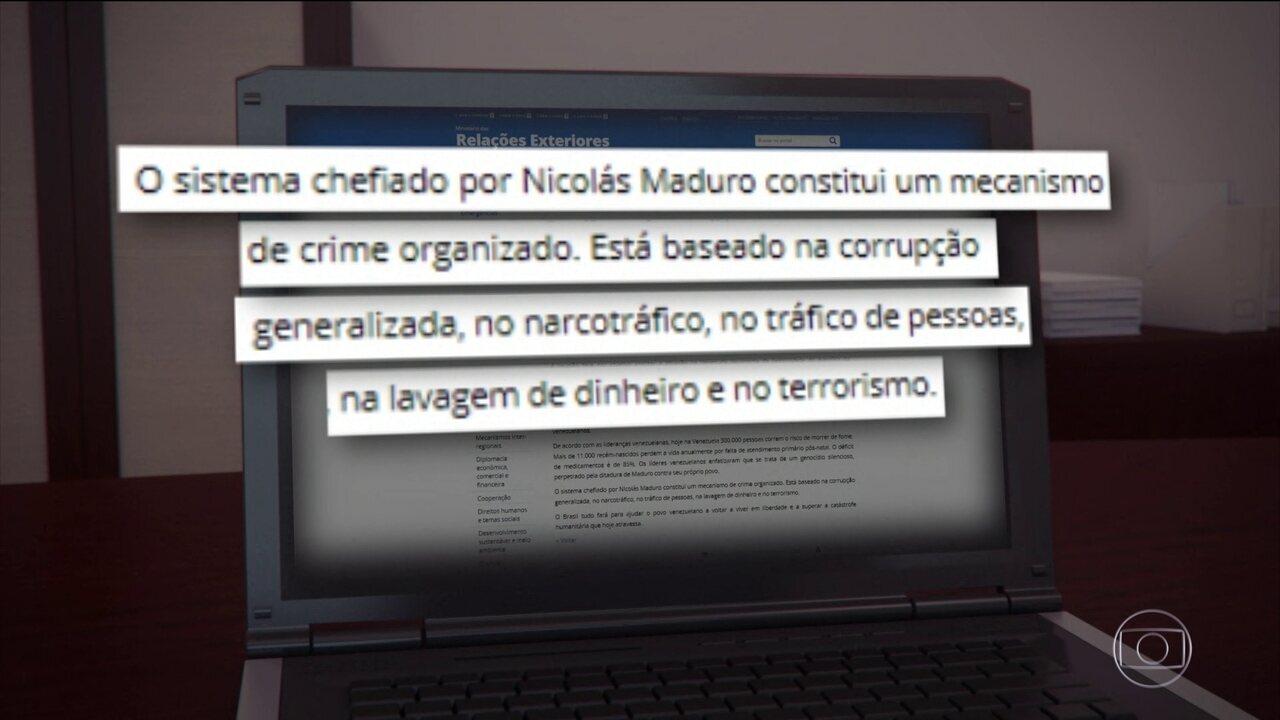 Itamaraty diz que regime de Maduro é baseado no tráfico de drogas, de pessoas e terrorismo