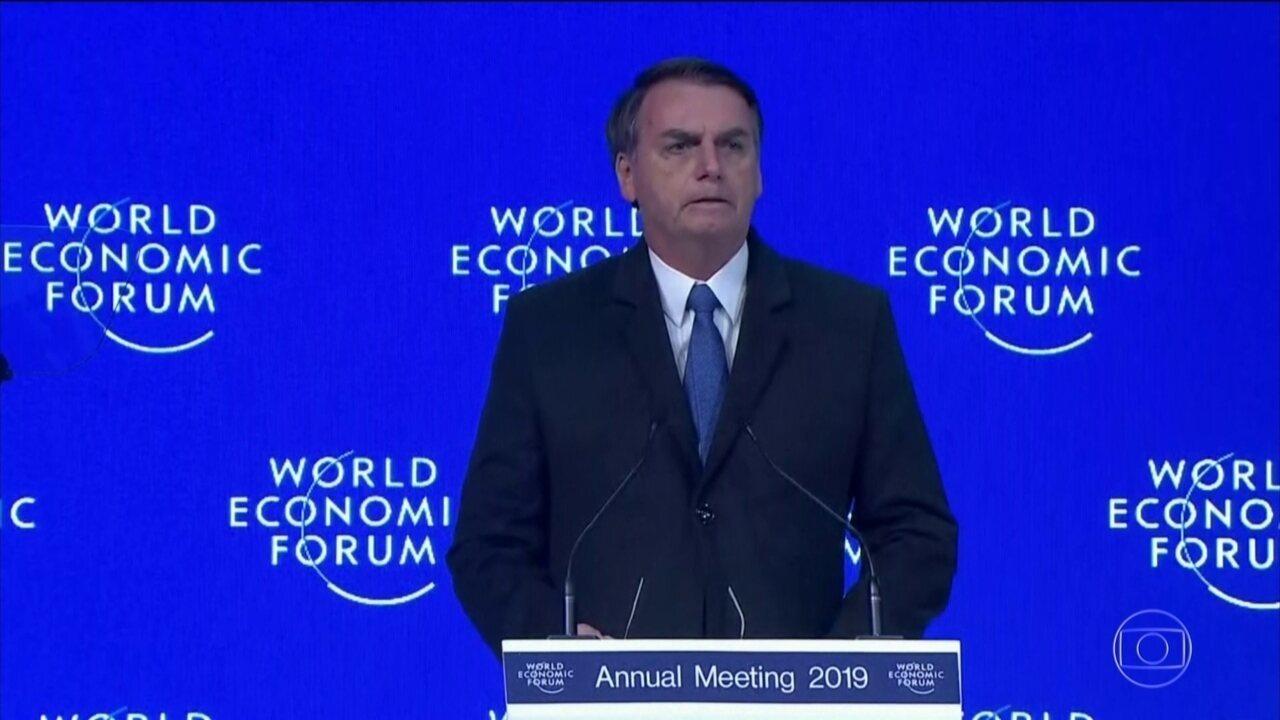 Bolsonaro promete em Davos abrir a economia e fala sobre preservação do meio ambiente