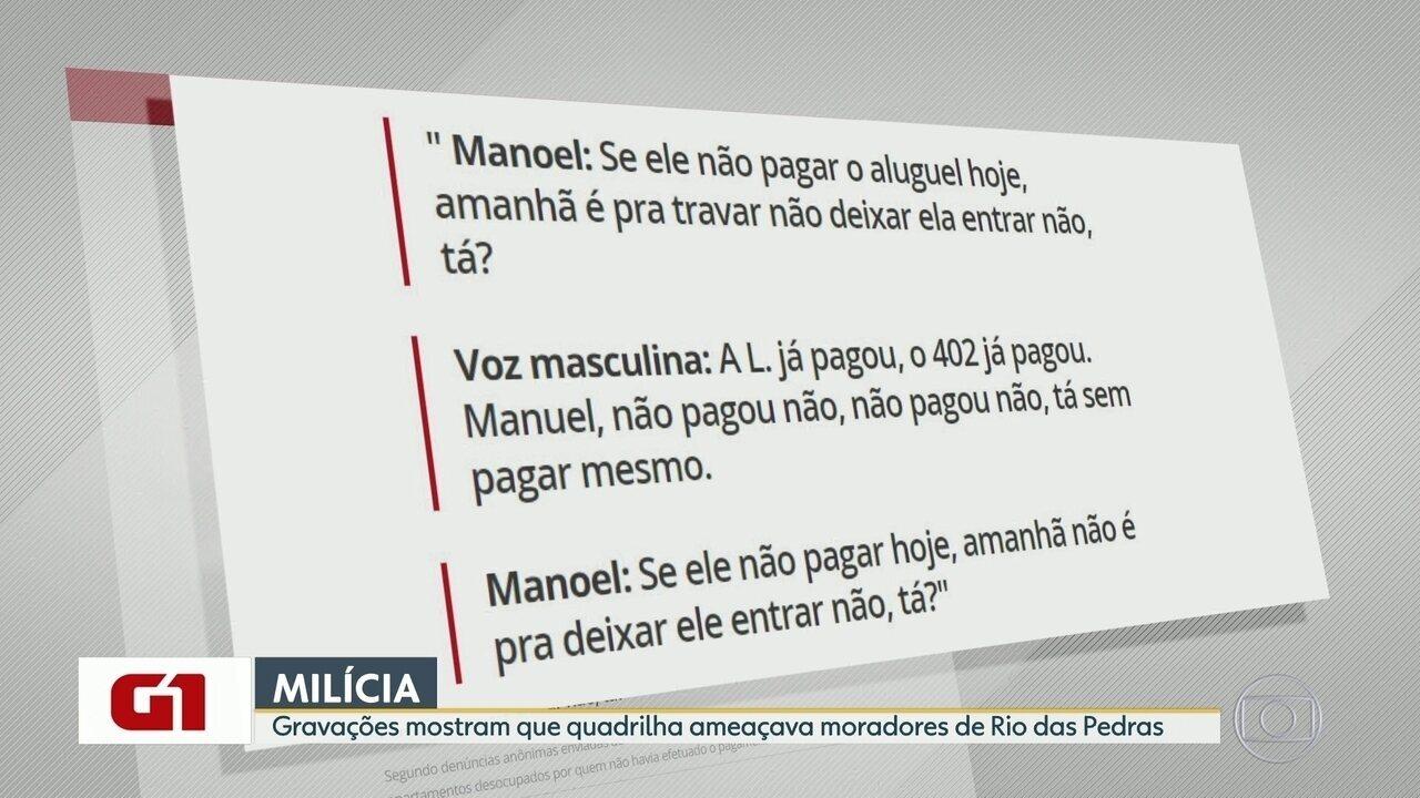 G1 no BDRJ: Escutas telefônicas mostram ameaças da milícia a moradores de Rio das Pedras