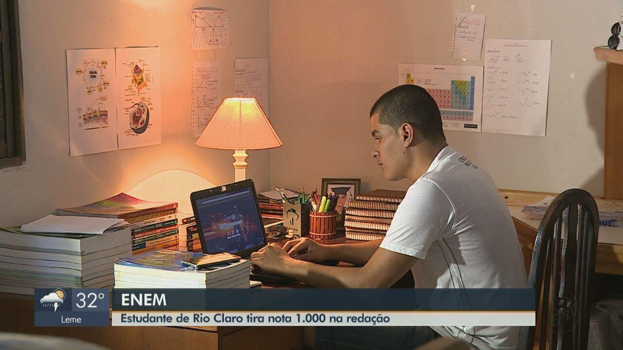 Estudante de Rio Claro tira nota 1000 na redação do Enem