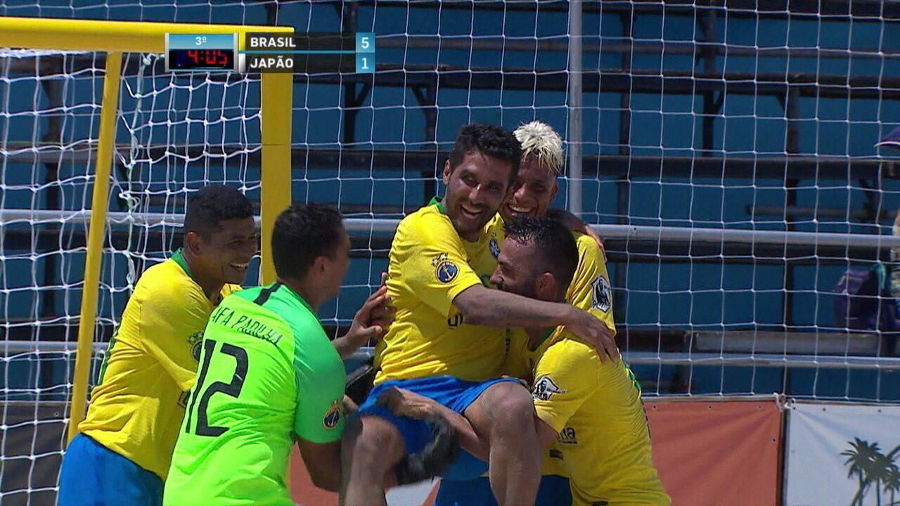 2b4d94cf7b Os gols de Brasil 5 x 1 Japão pelo Desafio Internacional de futebol de areia