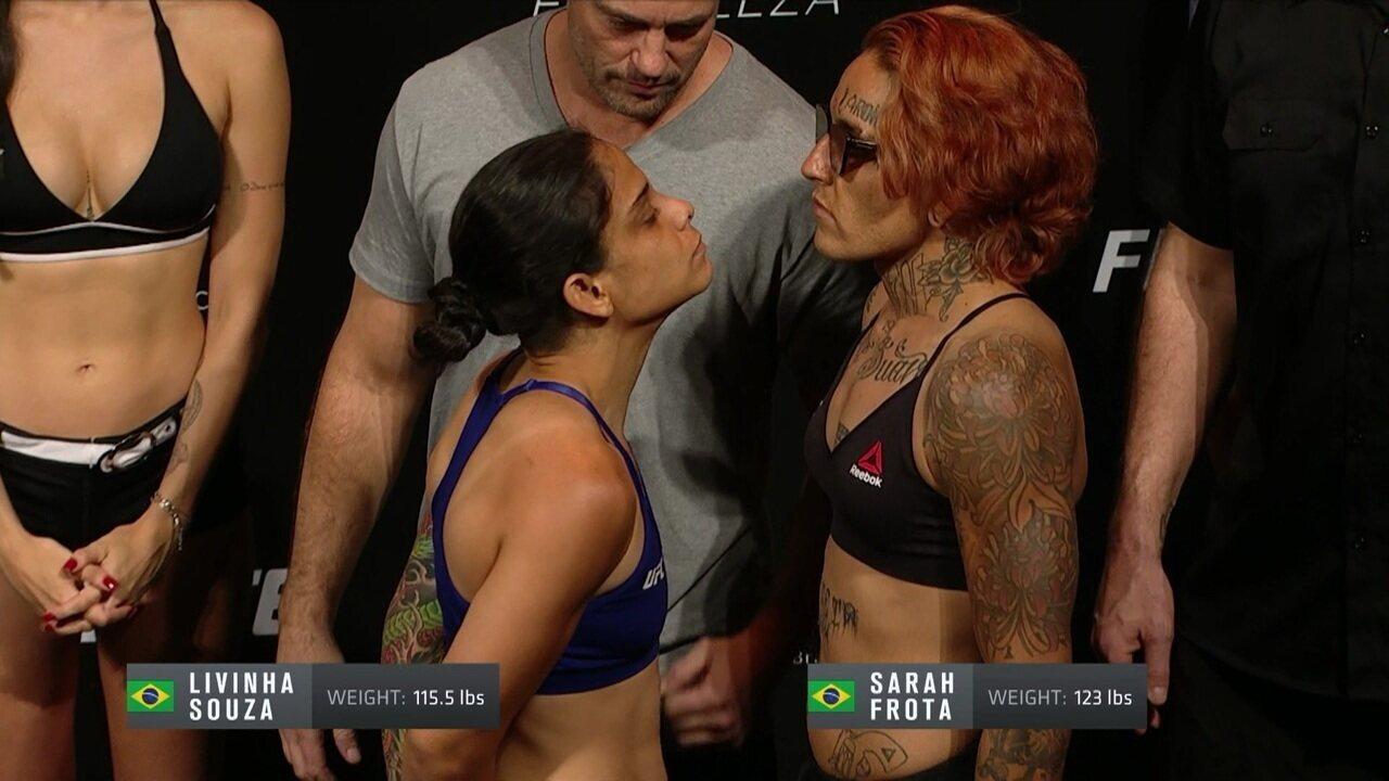 Livinha Souza e Sarah Frota passam pela pesagem do UFC Fortaleza
