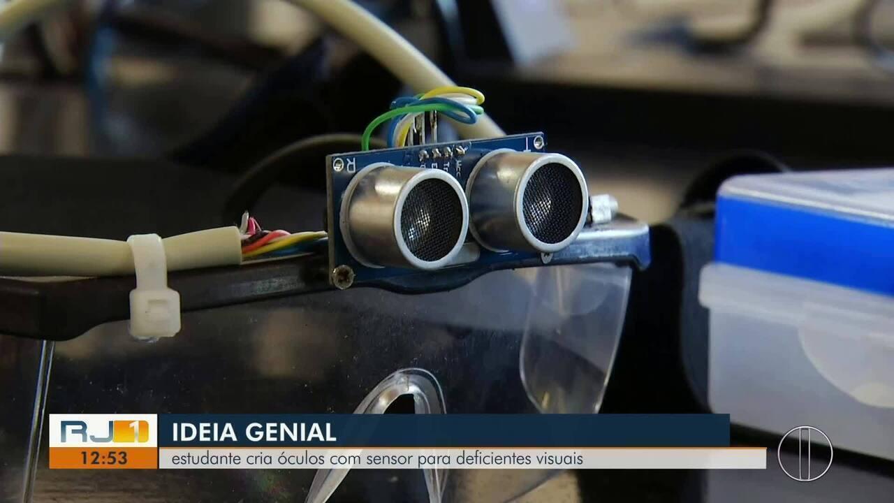 Estudante de Macaé cria óculos com sensor para deficientes visuais