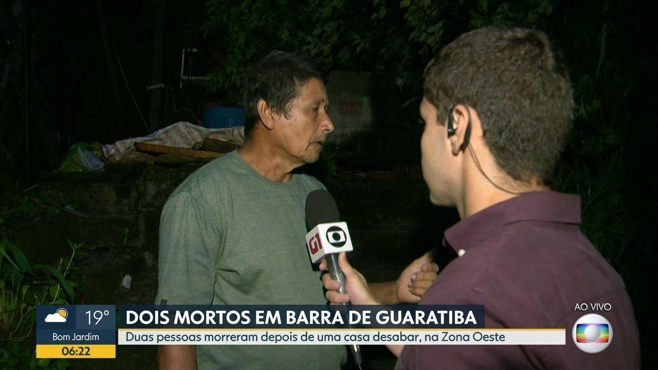 Deslizamento deixa duas pessoas mortas em Guaratiba