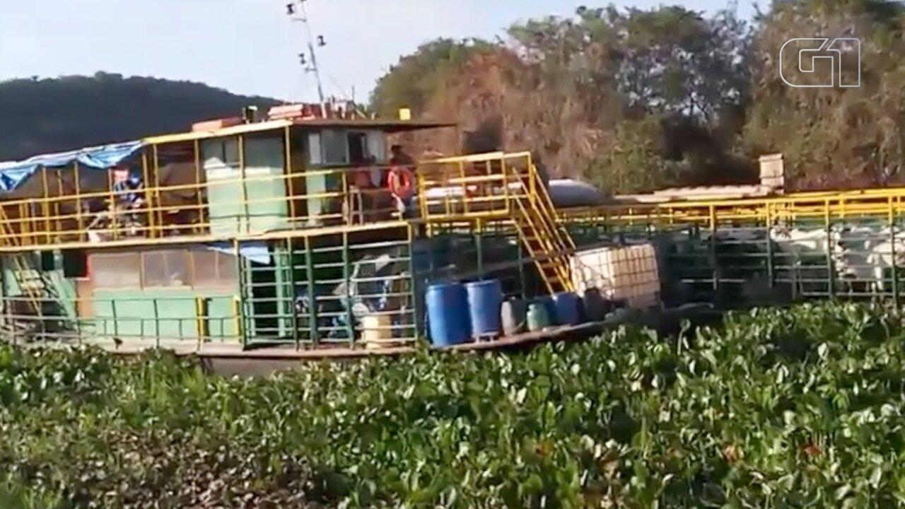 Barco com 20 pessoas fica 72 horas encalhado em rio no Pantanal de MS
