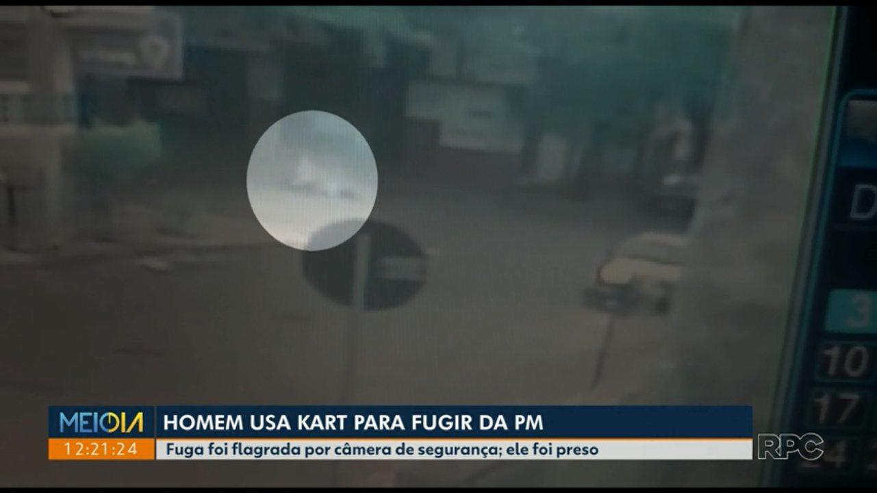 Câmeras flagram homem fugindo da polícia de kart em Sarandi
