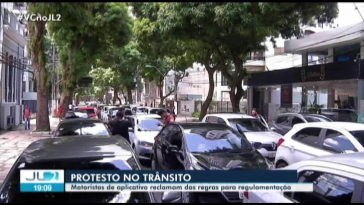 Motoristas de aplicativos de transporte protestam em vias de Belém contra regulamentação