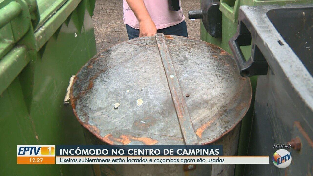 Lixeiras lacradas geram reclamação no Centro de Campinas