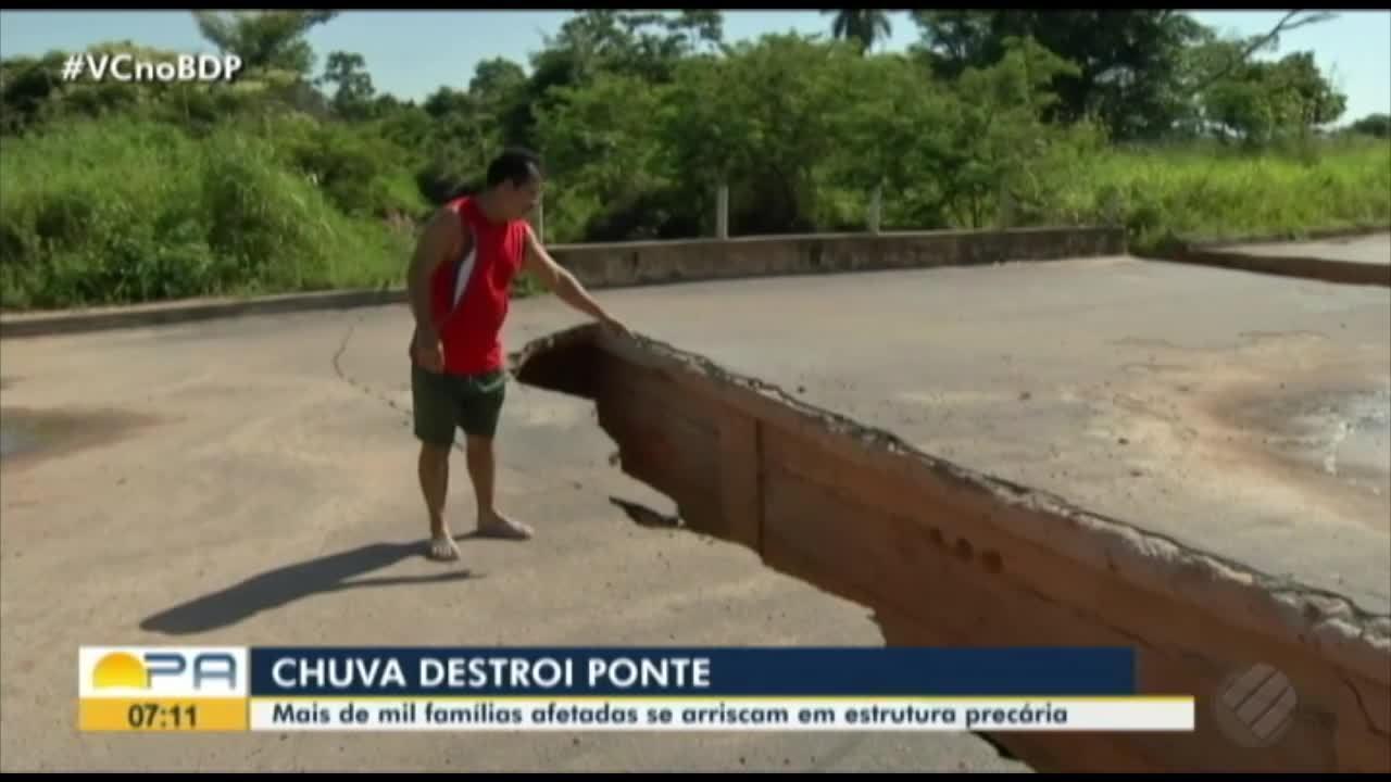 Famílias estão prejudicadas com buraco aberto em uma ponte de Redenção