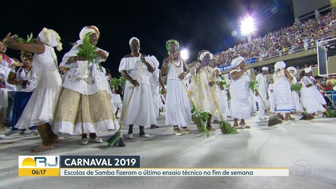 Escolas de samba fazem último ensaio técnico na Sapucaí