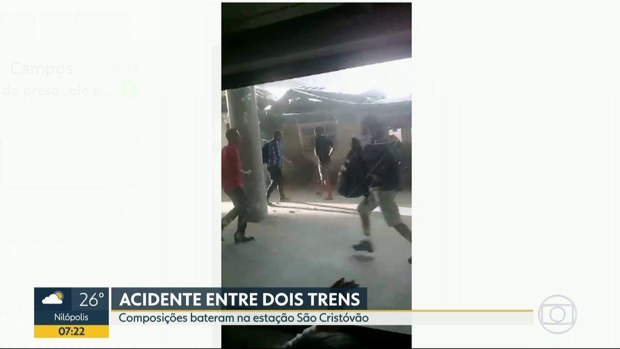 Veja imagens do acidente entre dois trens na estação São Cristóvão
