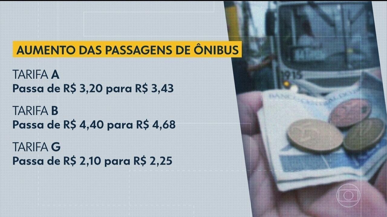 Aumento de 7,07% das passagens de ônibus é aprovado