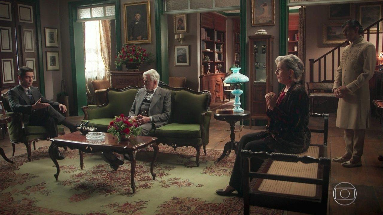 Otávio afirma a Augusto e Hildegard que pode ajudar Danilo