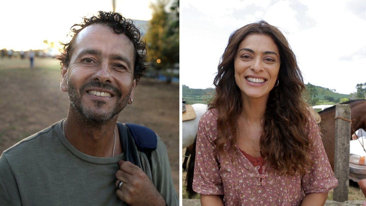 Marcos Palmeira e Juliana Paes comemoram reencontro em 'A Dona do Pedaço'