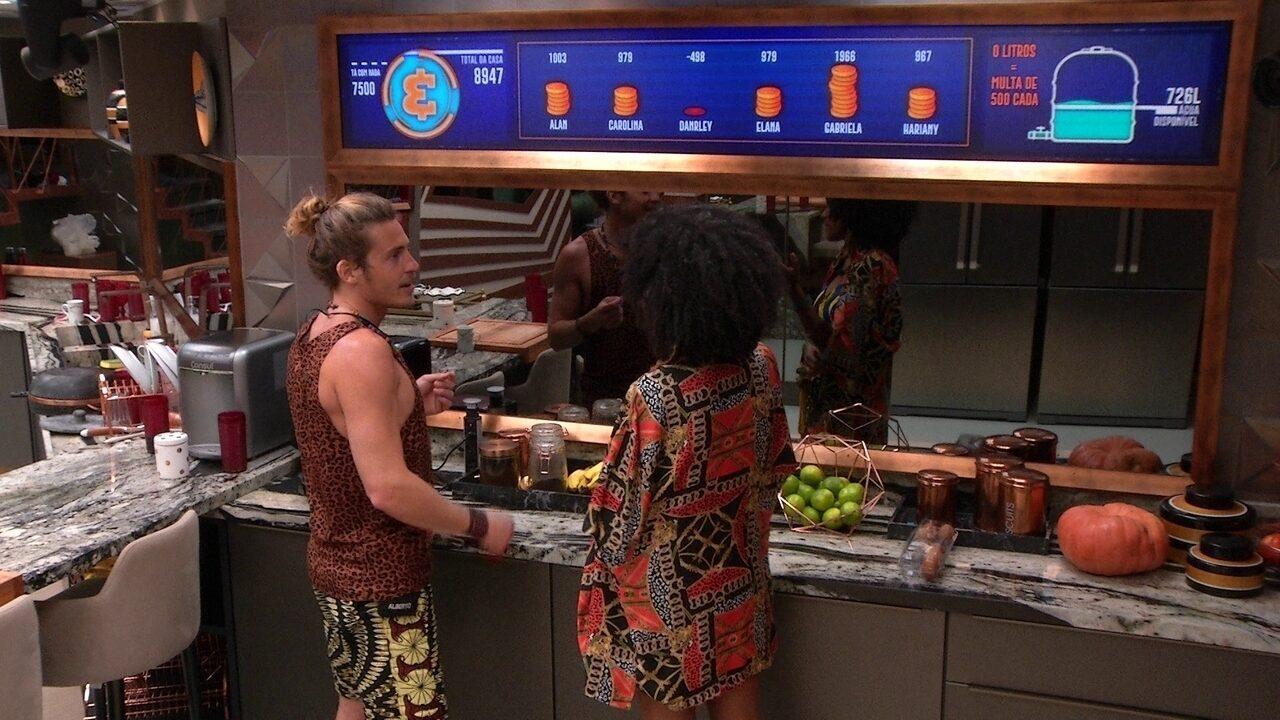 Gabriela explica estalecas e compras da semana para Alberto