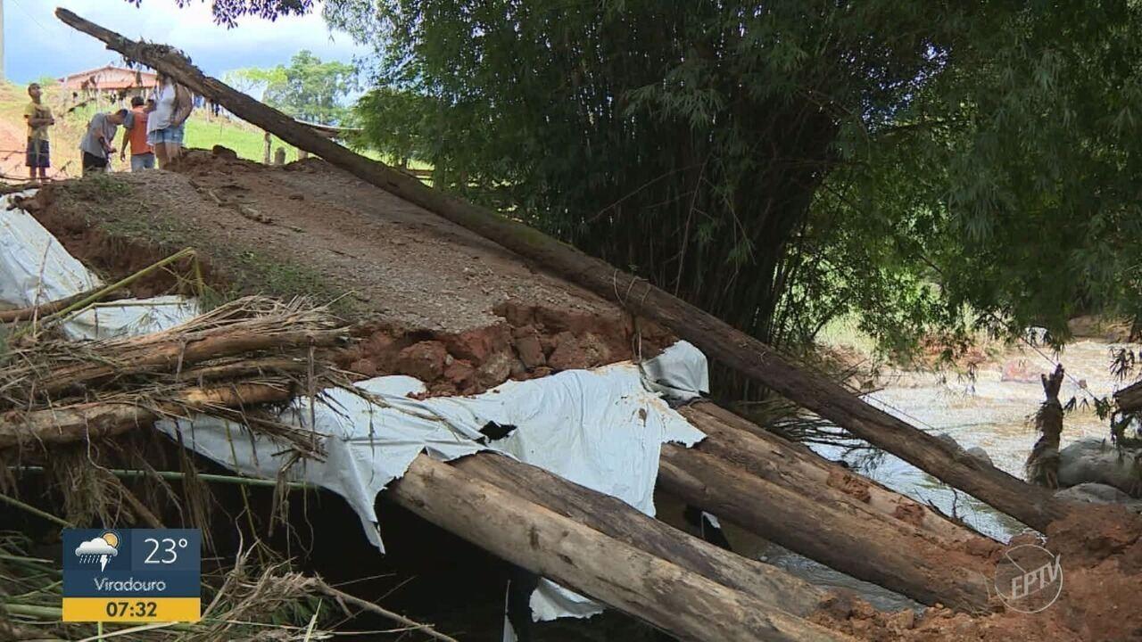Temporal destrói pontes em Socorro e cidade passa por obras de emergência