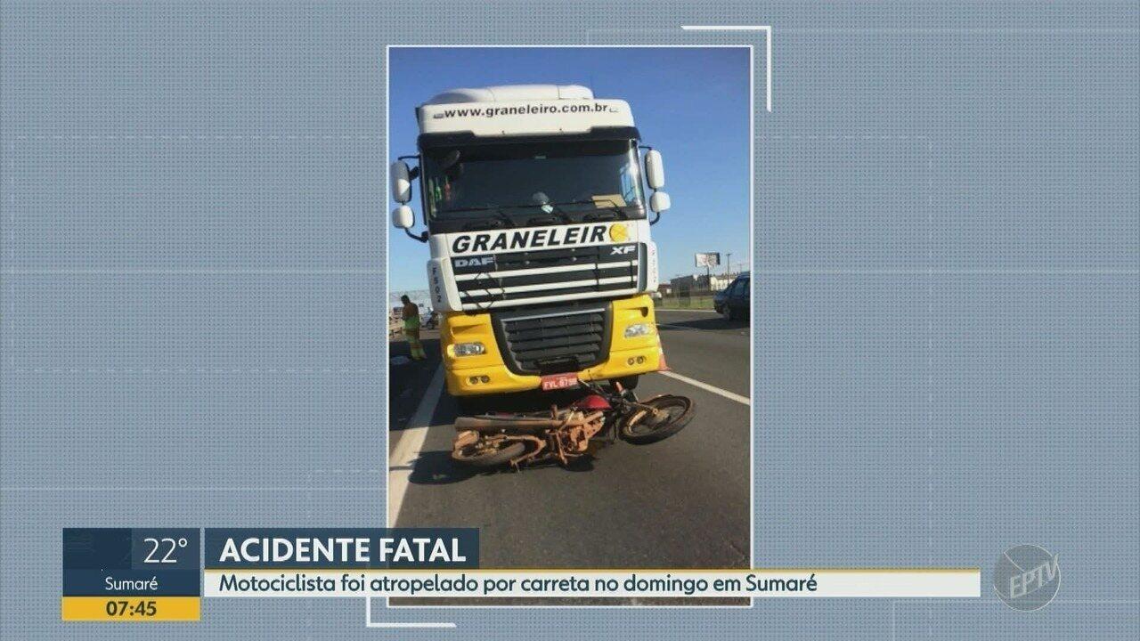 Motociclista morre após ser atropelado por carreta na Rodovia Anhanguera em Sumaré