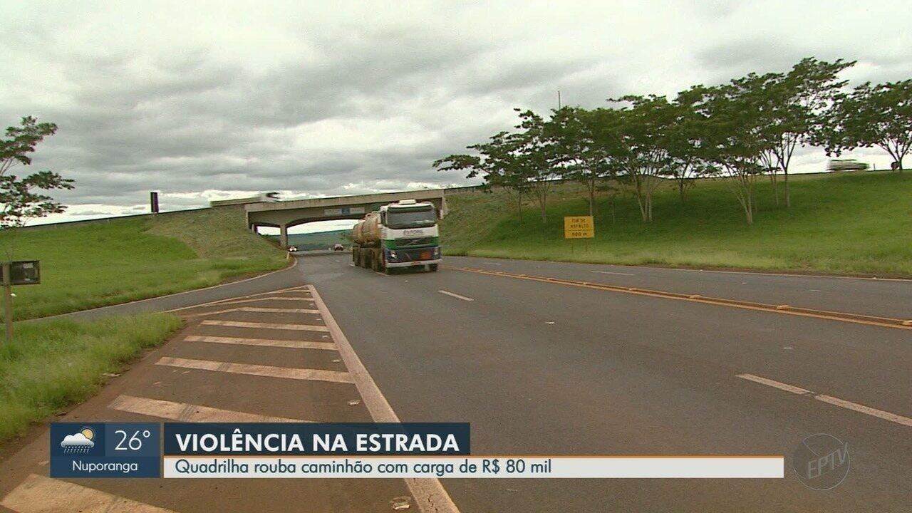 Quadrilha rouba caminhão de carga na estrada de Ribeirão Preto, SP