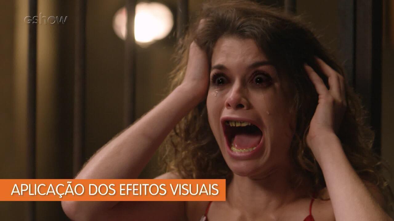 Veja como os efeitos visuais transformaram Isabel (Alinne Moraes) em monstro durante sonho na novela 'Espelho da Vida'. Imagens: equipe de efeitos visuais de 'Espelho da Vida'. Edição: Luisinho Silva/Gshow