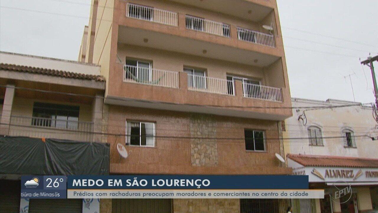 Rachaduras em casas e lojas de um mesmo quarteirão preocupam moradores em São Lourenço