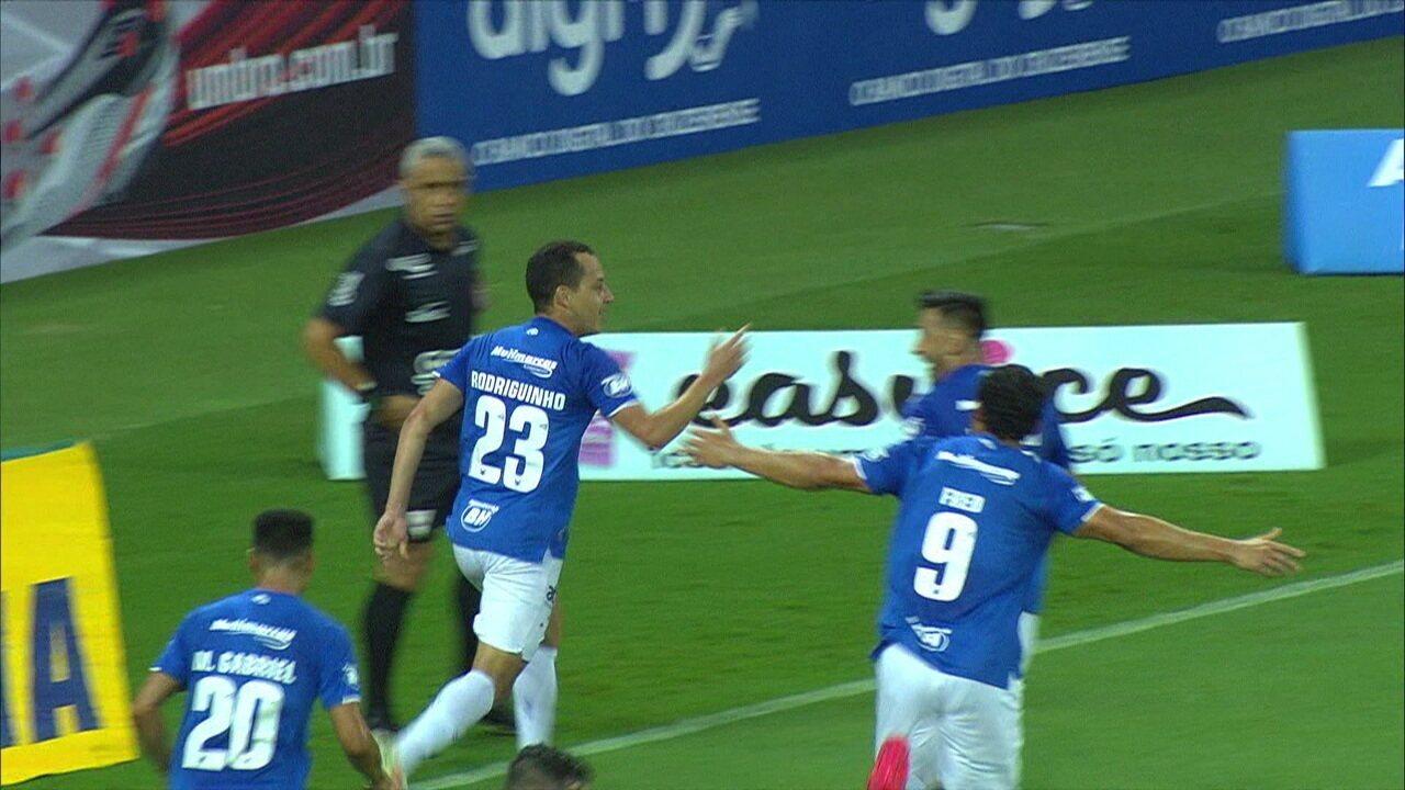 Gol do Cruzeiro! Rodriguinho faz fila, invade a área e marc aum belo gol, aos 22 do 1ºtempo