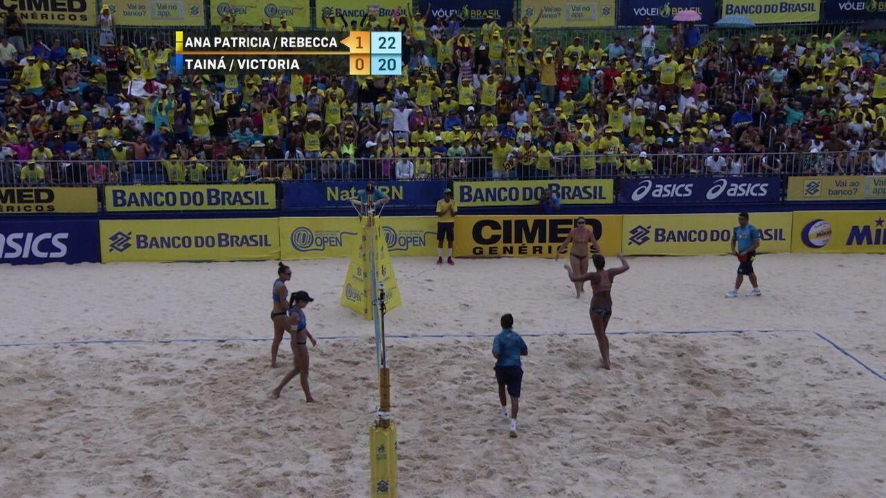 Pontos finais de Ana Patricia/Rebecca 2 x 0 Tainá/Victoria pela etapa de Natal do Circuito Brasileiro de vôlei de praia