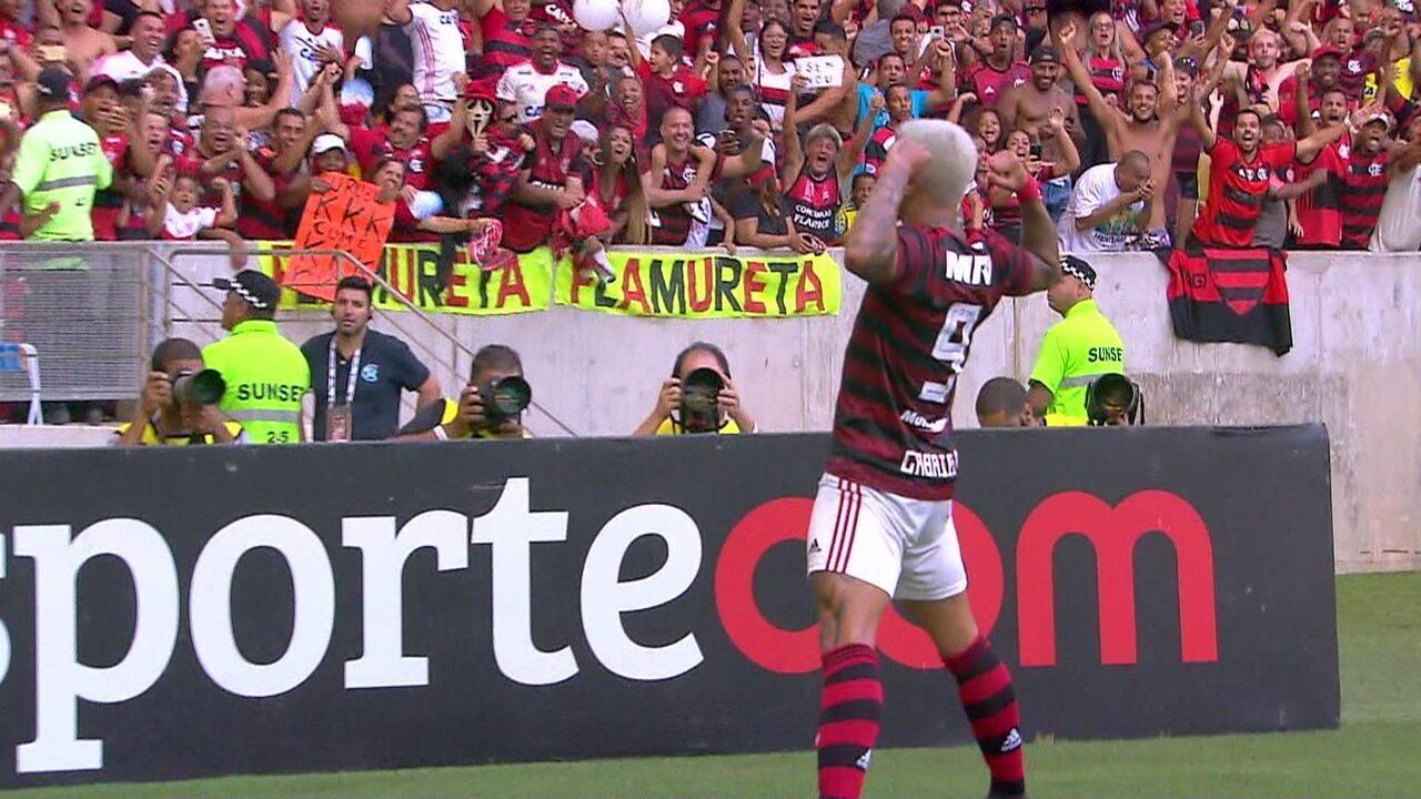Gol do Flamengo! Allan erra feio, Bruno Henrique lança Gabigol que amplia, aos 12 do 2º tempo