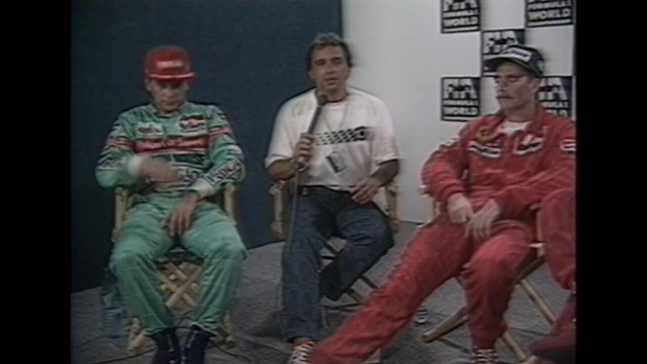Reginaldo Leme entrevista Maurício Gugelmin após terceiro lugar no Rio em 1989