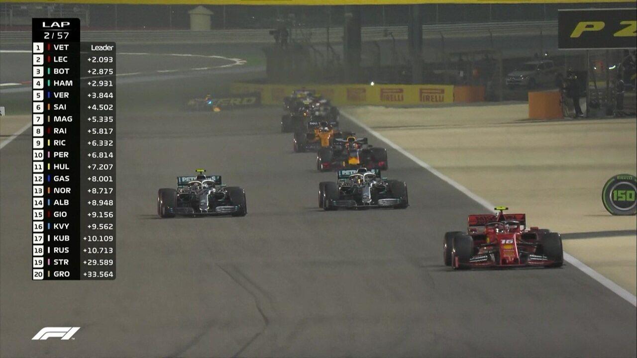 Leclerc e Hamilton ultrapassam Bottas no GP do Barein