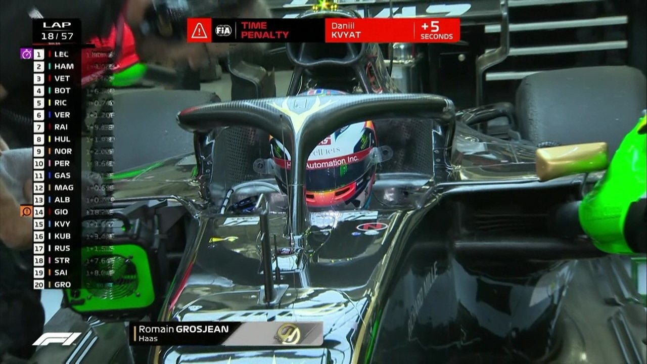 Bottas passa Ricciardo e Grosjean abandona a corrida