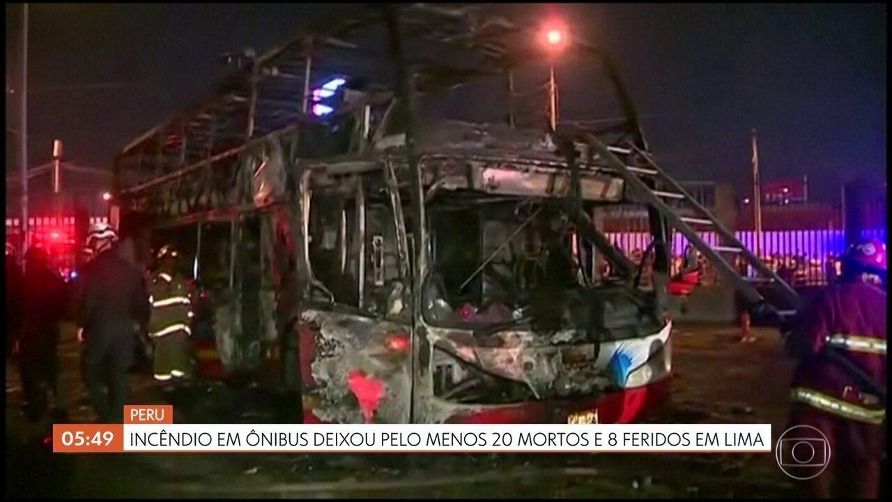 Incêndio em ônibus em Lima, no Peru, deixa pelo menos 20 mortos