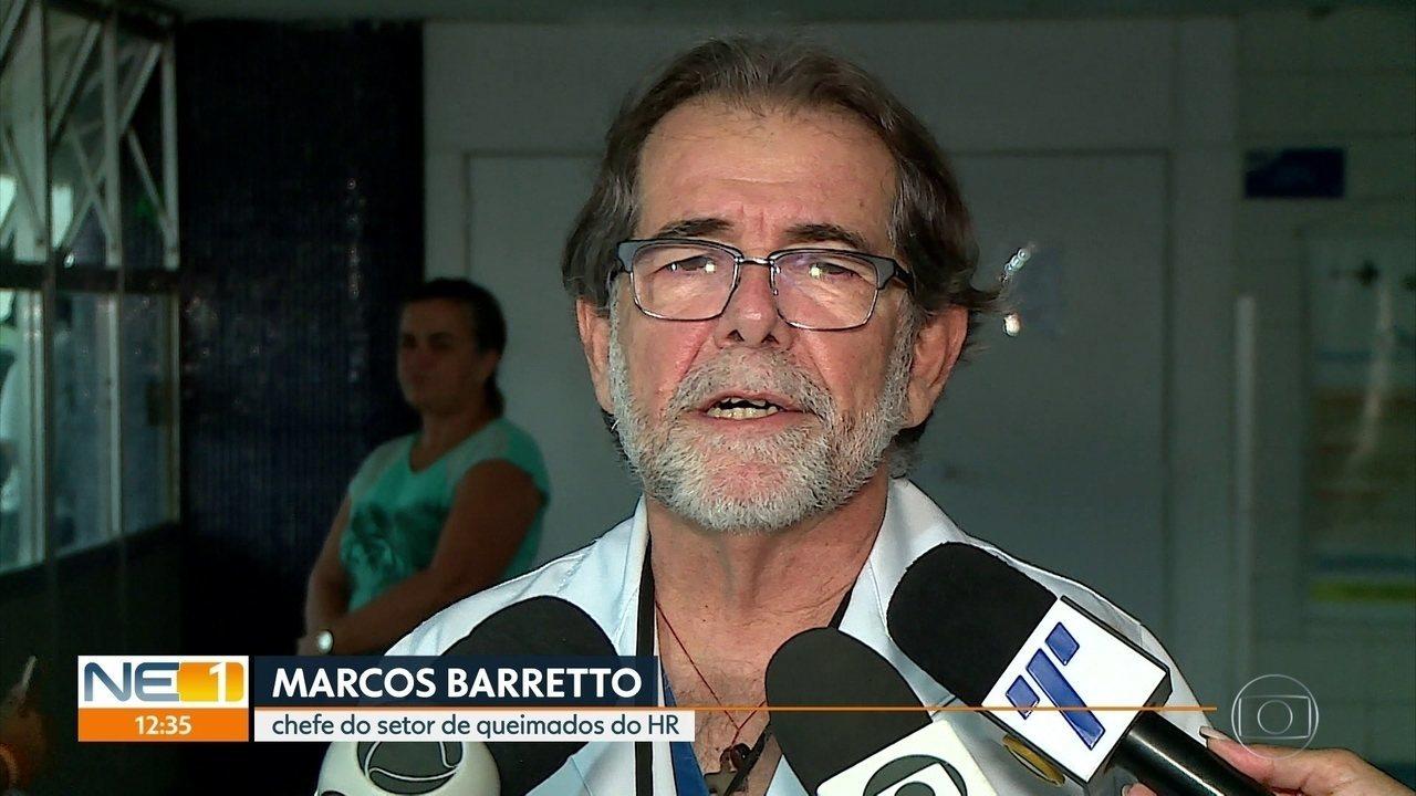 Médico explica estado de saúde de jovem que resistiu a estupro e foi queimada no Recife
