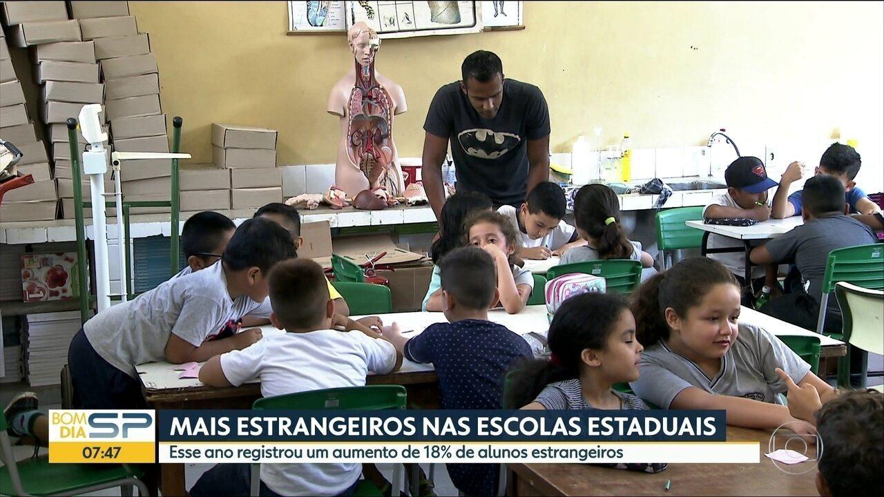 Número de alunos estrangeiros aumenta 18% nas escolas estaduais