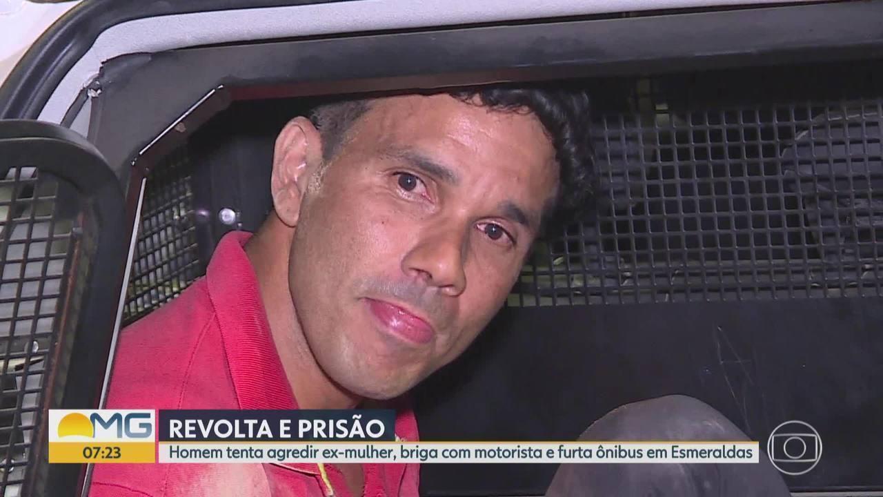 Revoltado com fim de relacionamento, homem briga com ex, furta ônibus e é preso