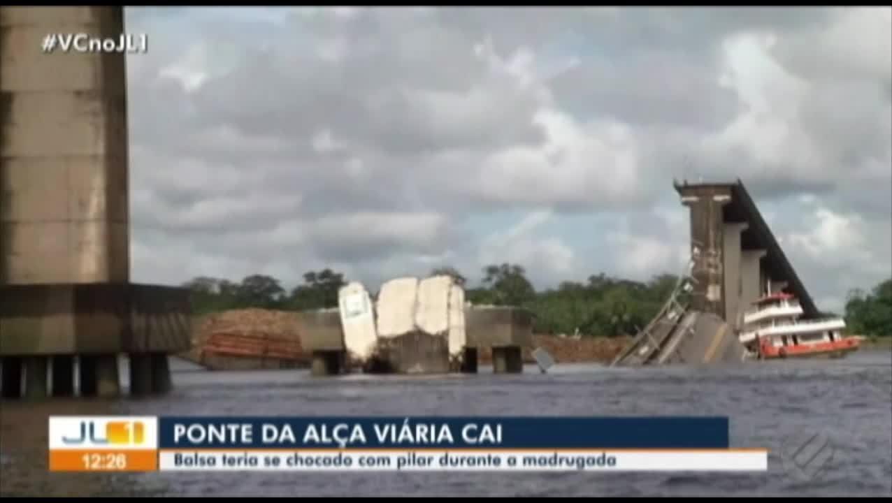 Parte de ponte na Alça Viária cai no rio Moju, no PA; confira a cobertura completa do JL1