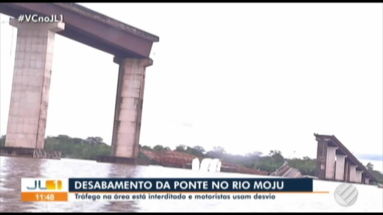 Terceira ponte da Alça Viária, sob o Rio Moju, desaba na madrugada de sábado, 6, no PA