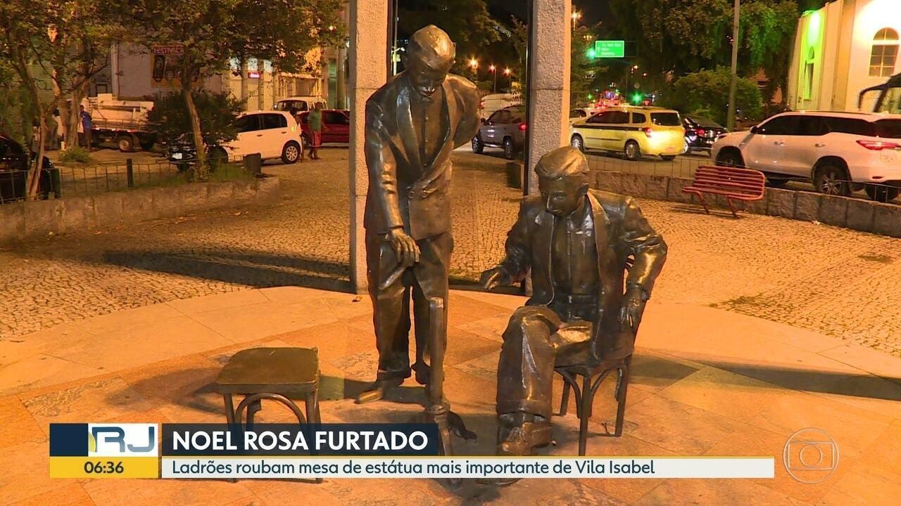 Ladrões roubem mesa da estátua de Noel Rosa em Vila Isabel
