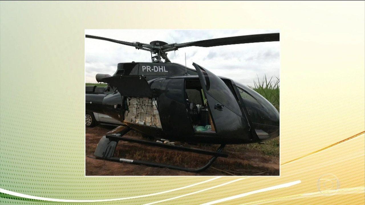 Helicóptero carregado com meia tonelada de cocaína é apreendido no interior de SP