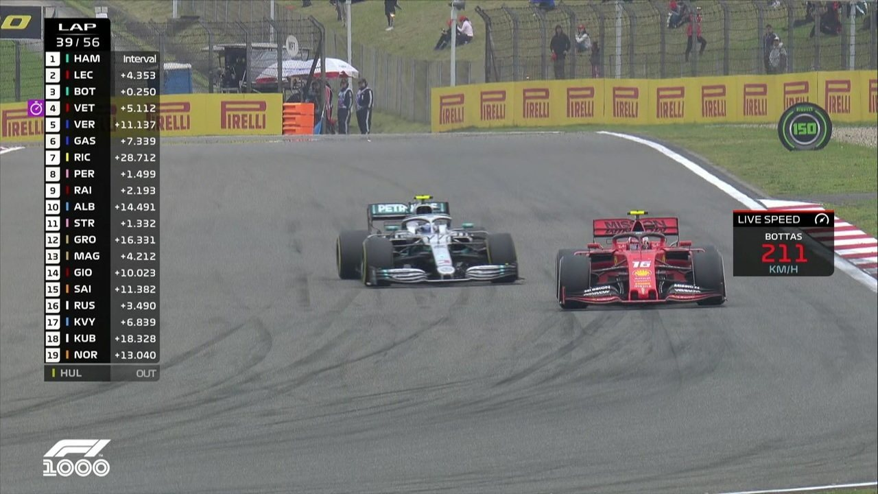 Bottas força para cima de Leclerc, mas não consegue a ultrapassagem
