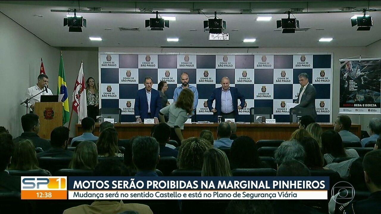 Prefeitura vai proibir motos na Marginal Pinheiros