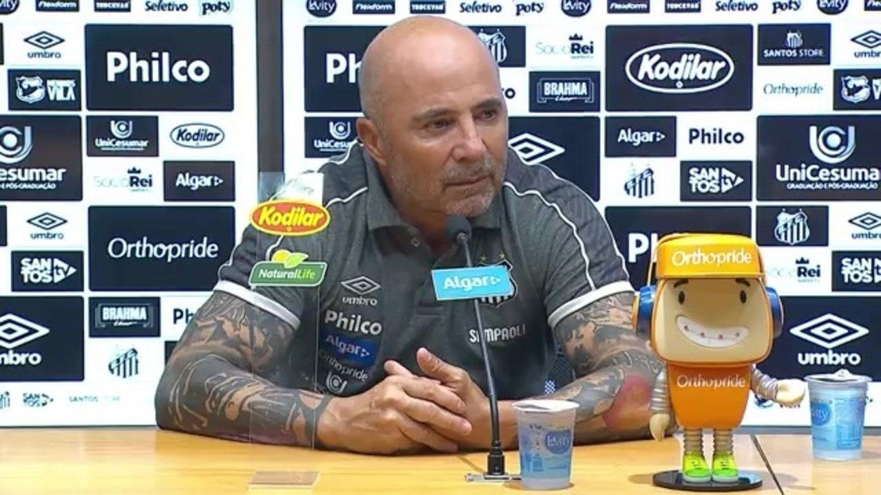 Veja a entrevista de Jorge Sampaoli, técnico do Santos, após vitória sobre o Vasco